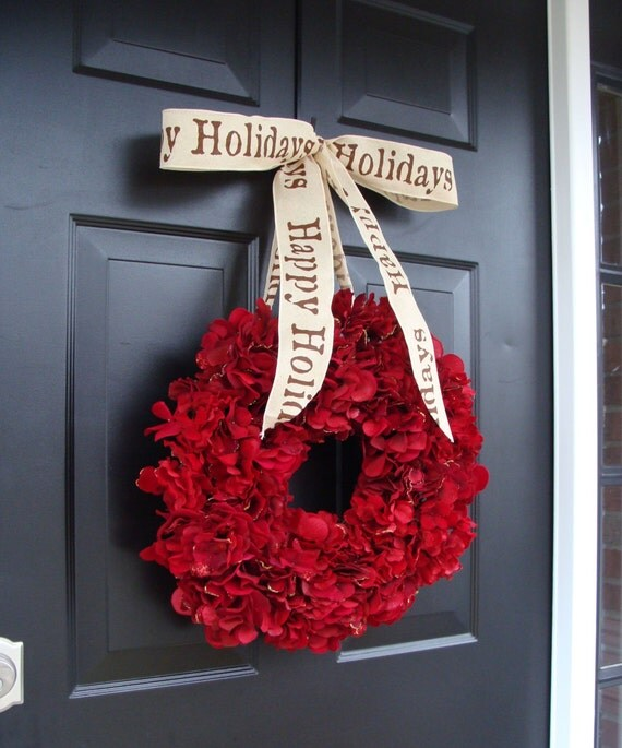 Cranberry Red Christmas Wreath- Christmas Decor- Holiday Decoration- Winter Wreath