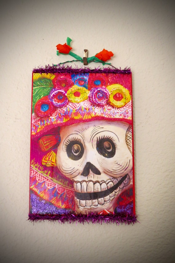 Sparkly Day of the Dead Calavera (skull) Shrine- So colorful and perfect for your altar