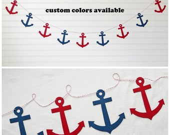 Anchor Garland - 5 inch Anchor - Nautical Decoration Anchor Banner Pirate Party Decor Banner Nautical Party Anchor Decor Nautical Banner