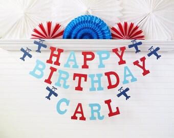 Airplane Birthday Banner - 5 inch Letters - Custom Name Birthday Sign Airplane Party Banner Party Decor Birthday Garland Custom Birthday