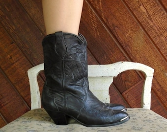 Black Leather Mid Calf Cowboy Boots - Vtg 80s - 7