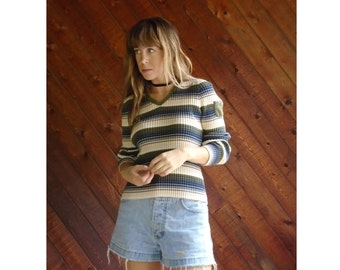 Striped Ribbed TOMMY Hilfiger l/s Shirt - Vintage 90s - M