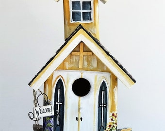 Yellow and White Church Birdhouse , Unique , with Swing , Bench , and Welcome Sign with Clean Out