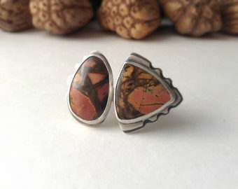 sterling silver jasper ring, cocktail ring, Picasso jasper ring, size 9
