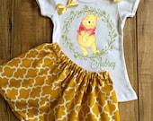 Personalized Winnie the Pooh Skirt Set - Winnie the Pooh Birthday Dress - Winnie the Pooh Outfit - Winnie the Pooh Dress