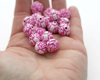 Pink White Acrylic Round Rose Flower Beads Carved 13mm (20)