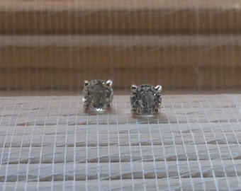 White Topaz Stud Earrings Sterling Silver April Birthstone 5mm