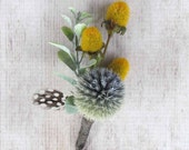 Dried Blue Thistle Boutonniere for your Rustic Wedding