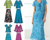 PLUS SIZE Sewing Pattern ~ Womens Tops & Skirt 5 Sizes Simplicity 4221