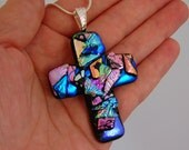 Dichroic Glass Cross Pendant includes necklace, Picasso Style Pendant ~ Dichroic Creations
