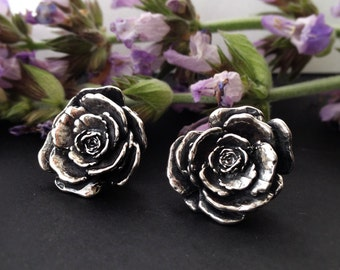 Silver Rose Stud Earrings - Handmade in Austin, Tx - Plant Jewelry - Botanical Studs - made by Jamie Spinello