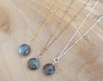 Labradorite Necklace, Labradorite Charm Necklace, Silver Labradorite Necklace, Rose Gold Filled Labradorite Coin Necklace, Satellite Chain
