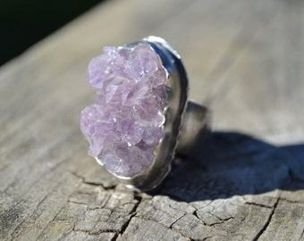 Amethyst Cluster Sterling Silver Ring Size 8