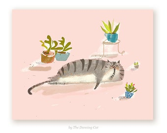 Home Cat Card - Succulents - Plant Card - Cat Lover Card