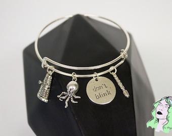 Don't Blink Doctor Who Inspired Charm Bangle Bracelet