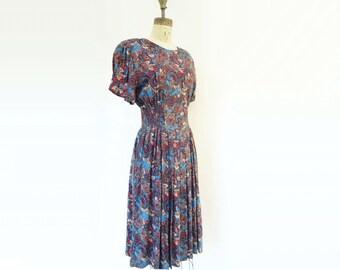 80s Secretary Dress Vintage Floral Dress 80s Vintage Dress Midi Secretary Dress Vintage Secretary Brown Cobalt Dress Neon Coral Dress small