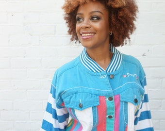 1980s Denim Jacket  Multi Colored Stripes Hip Hop