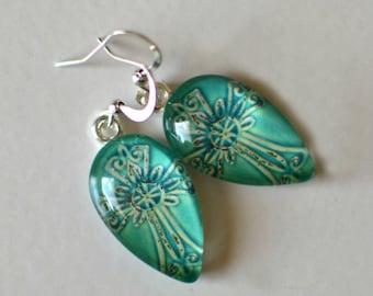 Glass Cross Dangle Earrings- Teal Cross Earrings- Rustic Earrings- Made with Titanium Ear Wires