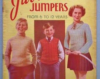 Vintage 1930s Knitting Patterns Book Juvenile Jumpers from 6 to 12 Years Bestway No. 598 UK children's clothes garments sweaters girls boys