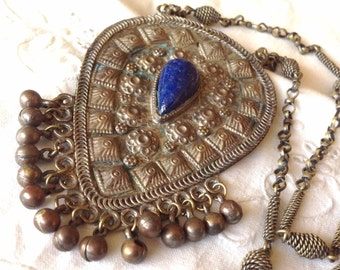 """Ethnic Tribal Necklace - Blue Lapis Lazuli Inset Stone - Silver Tone Metal - 24""""chain Pendant is 4""""- Boho style - Belly Dancer Jewelry"""