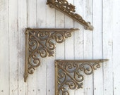 Cast Iron Brackets, Shelf Decor, Rustic Barnyard, 8 x 8 Size, Iron Corbels, Shelf Decor, Open Shelf Kitchen