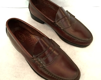 Vintage Loafers Mens Loafers Mahagony Brown Leather Loafers Size 8 Dexter Penny Loafers Dress Shoes Mens Slip Ons Leather Slip On Shoes