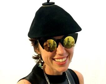 Vintage hat black hat felt hat pear hat 60s/70s/80s hat