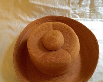 1940s Italian Straw Hat - fine milliery - unique summer hat - sculpted hat - Made in Italy - Ascot hat - Kentucky Derby hat