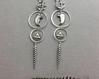 Masonic Bear Claw Occult Earrings with Unicorn Horns
