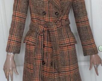 Vintage Brown Orange Plaid Tweed Wool Coat Belted B36 Double Breasted