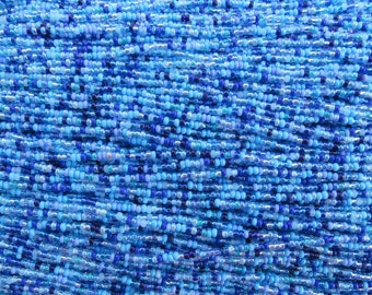 10/0 Pacific Blues Mix Czech Glass Seed Beads 12 Strand Hank (ES18)