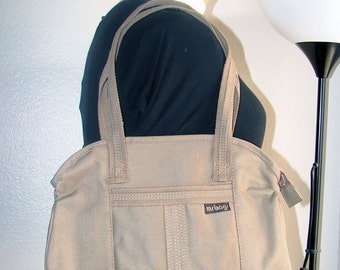 Khaki Canvas Structured Purse by BAG WORLD