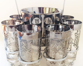 Queen's Lusterware Barware - Eight Glasses/Holder With Ombre Silver Ice Bucket - Round Metal Holder With Handle - 'Kimiko Guardian'