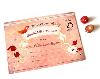 25 Dollar Gift Certificate - Christmas - Birthday - Special Gift