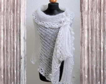 wedding shawl, white wedding, white wedding wrap, soft white stole, mohair silk silver romantic victorian