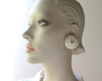big star clip earrings 1970 nautical fashion white enamel and rhinestones glam