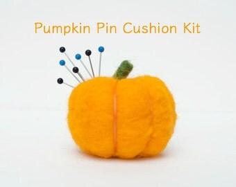 Pumpkin Pin Cushion Needle Felting Kit - Needle Felted Pumpkin Kit - Beginner Starter Kit - DIY Craft Kit - DIY Home Decor