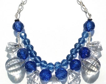 Fun Blue clear acrylic handmade statement necklace