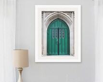 door photograph, wellesley college stone archway green door medieval architecture new england classic bedroom large wall art
