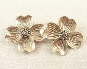 Vintage Sterling Dogwood Flower Clip On Earrings
