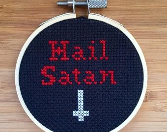Hail Satan cross stitch