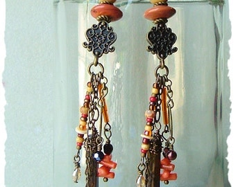 Bohemian Jewelry, Boho Tribal Assemblage Earrings, Long Statement Earrings, Boho Style Me, Kaye Kraus