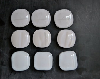White on White  Fused Glass  Magnets