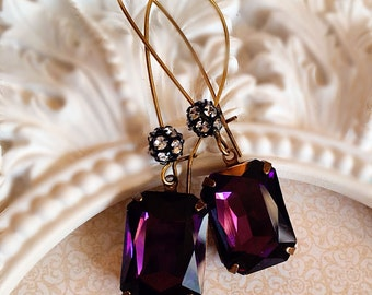 Art Deco Earrings - Purple Earrings - Art Deco Jewelry - Fall - MADELINE Purple