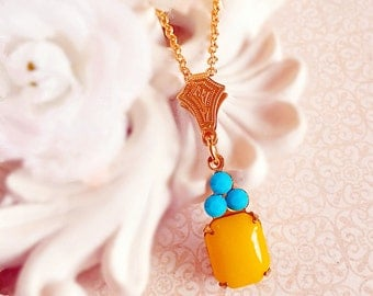 Art Deco Jewelry - Turquoise Necklace - Sunshine Yellow Necklace - Summer Necklace - Bridesmaid Gift - REGENCY Sunshine