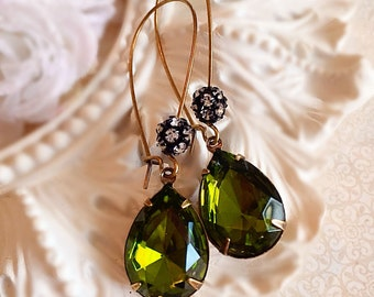 victorian earrings - Olive Earrings - Green Earrings - victorian jewelry - Bridesmaids Gifts - Prom Jewelry - COVET Olive