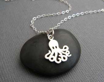 tiny silver octopus necklace. small sterling sea creature pendant. ocean aquatic marine animal octupus. beach jewelry. nature charm. 1/2""