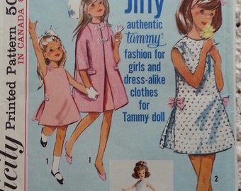 Matching Girl Dress and Doll Dress 1962 Vintage Tammy Doll and Girl Dress Pattern Simplicity 5899 Girls Size 8 One Piece Dress and Coat