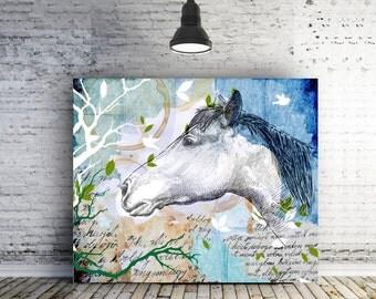 Horse art canvas Teen Room decor for girls Inspirational gift for teen abstract horse decor college graduation gift girlfriend gift