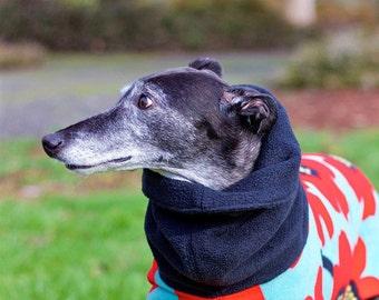 Fleece Greyhound Coat with Long Snood--Poppies Poppies/Greyhound Coat/Fleece Dog Coat/ Sighthound Coat/ Snood Coat/ Winter Greyhound Coat